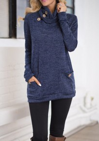 Dark Blue Pockets Buttons Cowl Neck Long Sleeve T-Shirt
