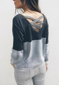 Camiseta sin espalda cuello redondo manga larga casuales gery-black