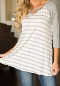 Camiseta manga corta v-cuello Y manga corta con estampado de rayas gris