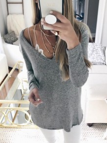 Grey Plain V-neck Long Sleeve Casual T-Shirt