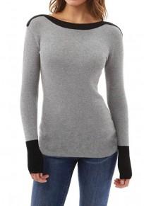 T-shirt col rond à manches longues occasionnel gris