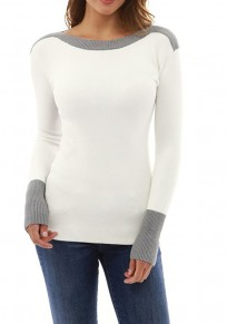 White Patchwork Round Neck Long Sleeve Casual T-Shirt