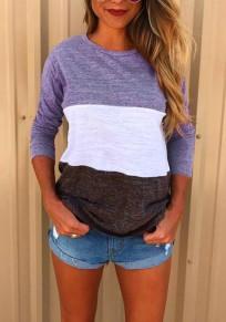 T-shirt bloc de couleur impression col rond occasionnel violet brun