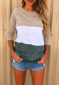 Khaki Green Color Block Print Round Neck Casual T-Shirt