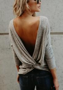 Tee shirt en maille asymétrique dos nu manches longues femme décontracté gris