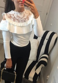 White Patchwork Lace Ruffle Cut Out Long Sleeve T-Shirt
