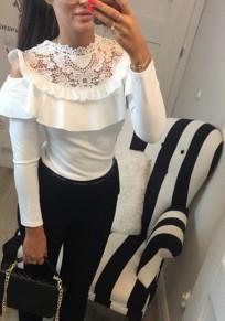 Camiseta volante de encaje recortada manga larga blanco