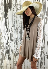 Khaki Patchwork Lace High Neck Casual T-Shirt