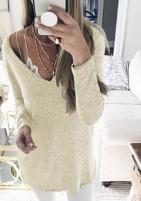 Beige Plunging Neckline Long Sleeve Casual Cotton T-Shirt