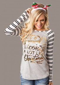 Grey Monogram Striped Print Long Sleeve Round Neck Christmas T-Shirt