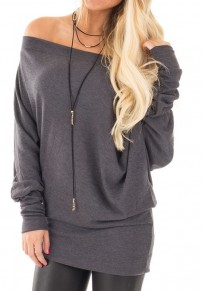 Grey Irregular Off Shoulder Round Neck Long Sleeve T-Shirt