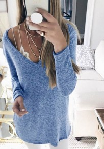 Blue Plunging Neckline Long Sleeve Casual Cotton T-Shirt