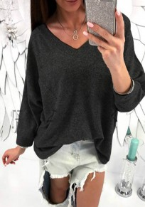Schwarz Ebene Taschen V-Ausschnitt Langarm Mode T-Hemd