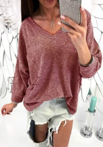 Red Plain Pockets V-neck Long Sleeve Fashion T-Shirt