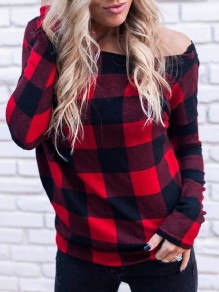 Red Plaid Print Irregular One Off Shoulder Asymmetric Shoulder Long Sleeve Fashion T-Shirt