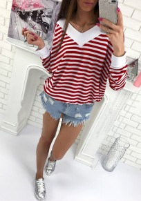 Red White Striped Print V-neck Long Sleeve Casual T-Shirt