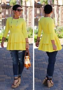 Yellow Cascading Ruffle Long Sleeve Round Neck Peplum High Waisted Fashion T-Shirt