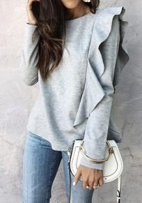 Maglietta semplice arricciata spalla asimmetrica girocollo casuale grigio