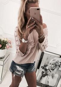T-shirt manches volantées en dentelle col rond décontracté rose