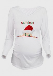 White Monogram Print Long Sleeve Round Neck Maternity Christmas T-Shirt