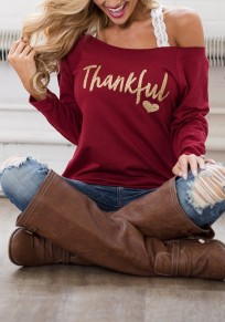 "Wine Red Monogram ""Thankful"" Print Off Shoulder Long Sleeve Casual Thanksgiving Day T-Shirt"