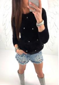 Black Beading Long Sleeve Round Neck Fashion T-Shirt