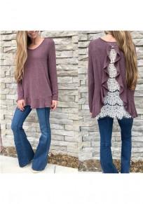 Purple Patchwork Lace Cascading Ruffle Irregular Round Neck Fashion T-Shirt