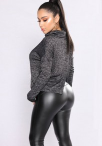 Black Back Slit Long Sleeve High Neck Oversize Casual T-Shirt