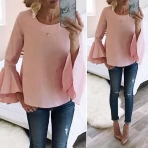 Pink Ruffle Long Sleeve Round Neck Loose Fashion T-Shirt