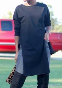 Black Irregular Double Slit Round Neck long Sleeve Fashion T-Shirt