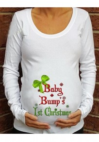 White Monogram Print Christmas Long Sleeve Round Neck Maternity Casual T-Shirt