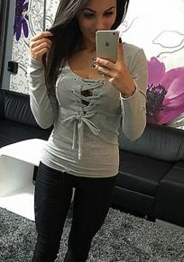 T-shirt uni cordon de serrage décolleté plongeant manches longues gris