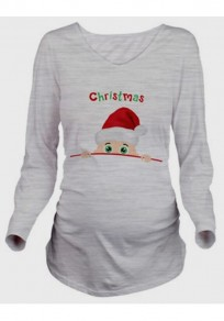 Grey Santa Monogram Long Sleeve Maternity Round Neck T-Shirt