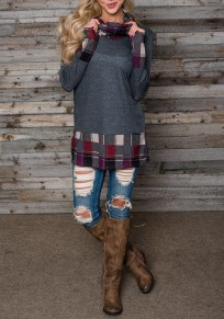Dark Grey Patchwork Plaid Print Long Sleeve Cowl Neck Oversized Casual T-Shirt