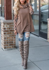 Khaki Patchwork Plaid Print Long Sleeve Cowl Neck Oversized Casual T-Shirt