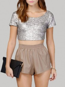 Silver Patchwork Sequin Shiny Glitter Crop Tops Backless Short Sleeve Bodycon T-Shirt