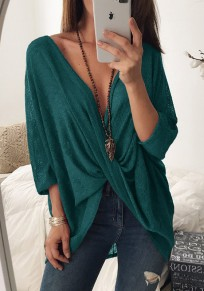 Dark Green Irregular Three Quarter Length Sleeve Fashion T-Shirt