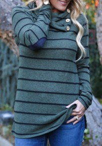 Green Striped Buttons Irregular Long Sleeve Casual T-Shirt