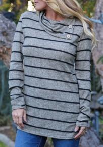 Grey Striped Buttons Irregular Long Sleeve Casual T-Shirt