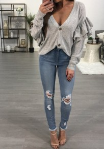 Light Grey Single Breasted Cascading Ruffle V-neck Long Sleeve T-Shirt