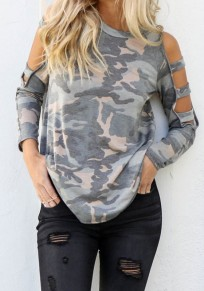 Army Green Camouflage Cut Out Long Sleeve Fashion T-Shirt