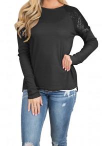 T-shirt paillettes col rond manches longues mode noir