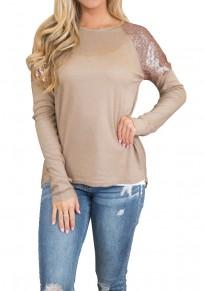 Khaki Sequin Round Neck Long Sleeve Fashion T-Shirt