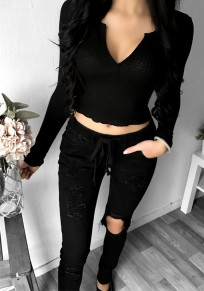 Black Plain Crop V-neck Long Sleeve Fashion T-Shirt