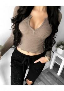 Camiseta lisa v-cuello manga larga moda caqui oscuro