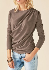Khaki Irregular Ruffle Round Neck Long Sleeve Casual T-Shirt