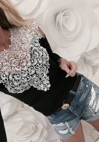 Black Lace Cut Out Round Neck Fashion T-Shirt