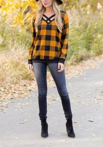 T-shirt imprimé à carreaux découpes v-col décontracté jaune-noir