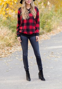 Red-Black Plaid Print Lace-Up Cut Out V-neck Christmas Casual T-Shirt
