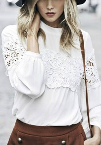 White Patchwork Lace Round Neck Long Sleeve Sweet T-Shirt